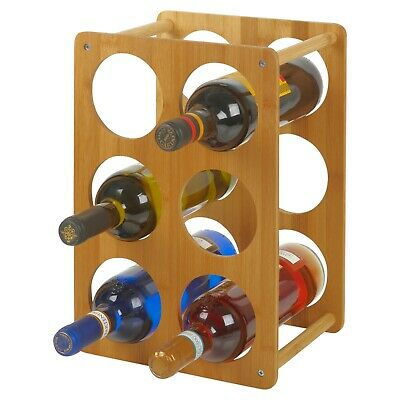 Wooden Bamboo 6 Space Wine Rack Bottle Holder Shabby Chic Standing Table Storage
