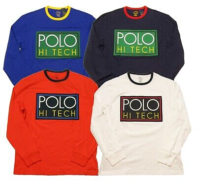 POLO RALPH LAUREN Men's Hi Tech Logo Graphic Crew-Neck Long Sleeve T-Shirt
