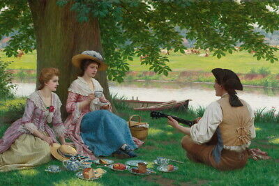 Wall Art Print Riverside Picnic oil painting HD Giclee Printed on canvas P1354