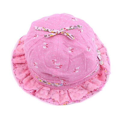 Summer Outdoor Beach Girls Princess Flowers Lace Sun Hats Visor Bucket Cap LD