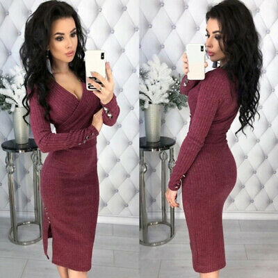 Women Fashion Deep V-Neck Button Decor Sexy Long Sleeve Bodycon Dress LD
