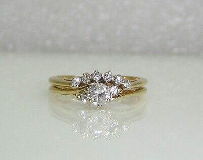 Diamond Engagement/Wedding Band W/Sizers In 14K Plumb Yellow Gold Sz 6.5 Ng30-M