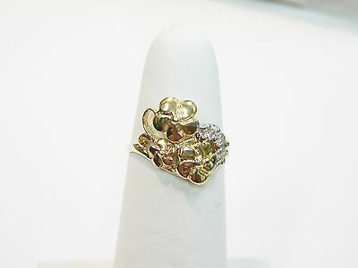 Cubic Zirconia Floral Ring Set In 14K Multi Tone Gold Size 6 1/2 N345-W