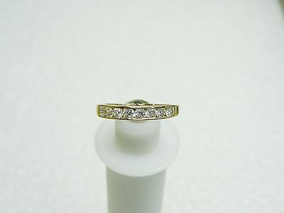 14K Yellow Gold 8 Channel Set Cubic Zirconia Ring Size 8 N147-M
