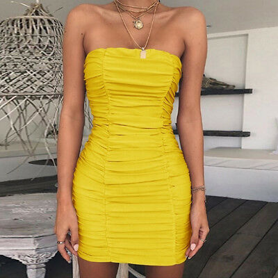 Women Sexy Off Shoulder Package Hip Bodycon Dress Backless Pleated Dress LD