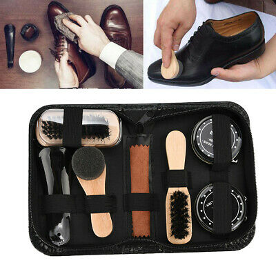 Shoe Shine Care Kit Polish Cleaning Brushes Sponge Cloth for Boots Shoes w/ Case