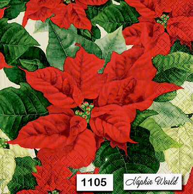 (1105) TWO Individual Paper Luncheon Decoupage Napkins - RED POINSETTIA FLOWER