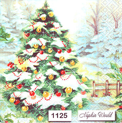 (1125) TWO Individual Paper Luncheon Decoupage Napkin- CHRISTMAS TREE SNOW
