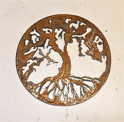 """6"""" Tree of Life Circle Rusty Rough Metal Wall Art Craft Stencil Vintage Sign"""