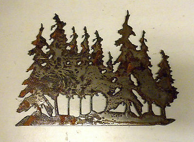 """6"""" Tree Grove Forest Rusty Rough Metal Wall Art Craft Stencil Vintage DIY Sign"""