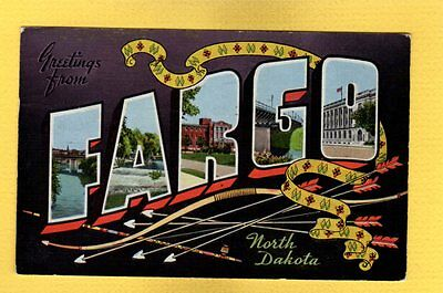 LARGE LETTER GREETINGS from FARGO north dakota,Indian bow & arrows,pipe,sash
