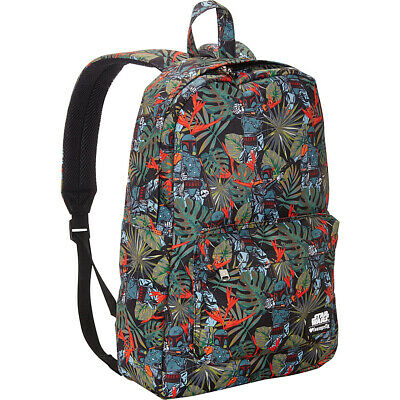 Loungefly Star Wars Boba Fett Bright Leaves Print Business & Laptop Backpack NEW