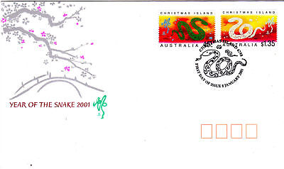 2001 Christmas Island Year of the Snake FDC