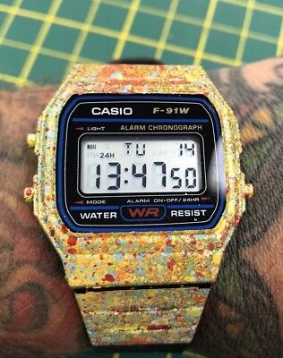 CUSTOM Casio F91W Classic Digital RETRO Sports Alarm Stopwatch Black WatcH
