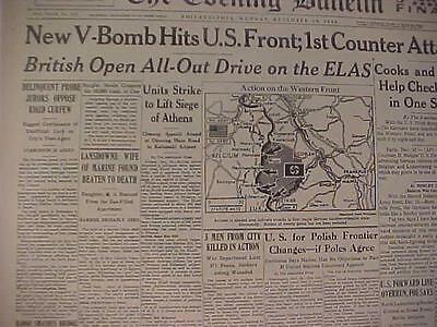 Vintage Newspaper Headline~World War Hitler Nazi V-Bomb Attack Hits Us Army Wwii