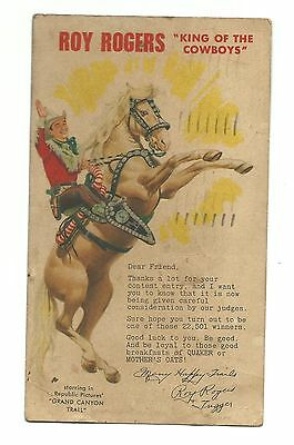 1948 Postcard Roy Rogers King Cowboys Grand Canyon Trail Movie Contest Entry