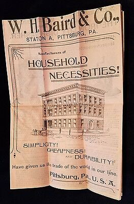OLD Advertising Catalog WH Baird & Co Pittsburgh PA Household Necessities