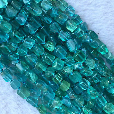 """Natural Genuine Clear Green Blue Apatite Fluorapatite Nugget Free Form Beads 16"""""""