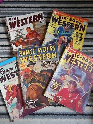 Lot of  5 Vintage Western Pulp Magazines / Comics - Cowboys