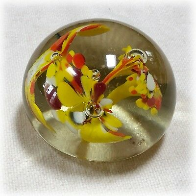VTG Hand Blown Art Glass Paperweight Yellow Orange Trumpet Controlled Bubbles
