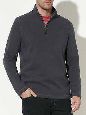 John Lewis Men's French Rib Zipped Jumper in Charcoal - Size M