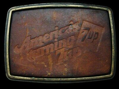 LB23134 GREAT VINTAGE 1970s AMERICA'S TURNING **7UP** LEATHER SODA DRINK BUCKLE