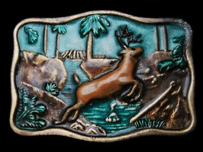 LC09110 COLORFUL VINTAGE 1970s *DEER JUMPING OVER FOREST STREAM* DEER BUCKLE