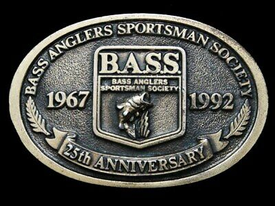 JL31149 VINTAGE 1992 **BASS ANGLERS SPORTSMAN SOCIETY** 25th ANNIVERSARY BUCKLE