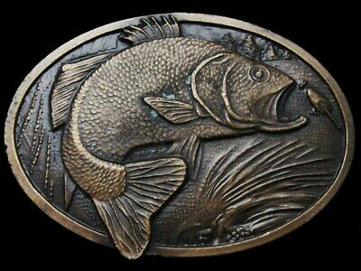 Lb19128 Vintage 1977 **Large Mouth Bass Jumping For Bait** Belt Buckle