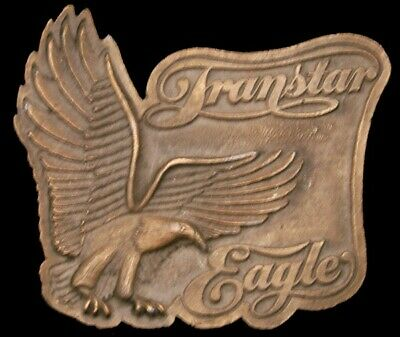 KB06119 VINTAGE 1970s **INTERNATIONAL TRANSTAR EAGLE** TRUCKER BRASSTONE BUCKLE