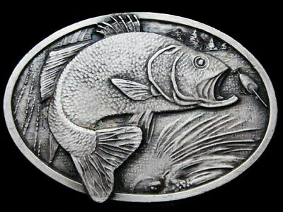 Kc17110 Vintage 1977 Bergamot **Large Mouth Bass Jumping For Bait** Belt Buckle