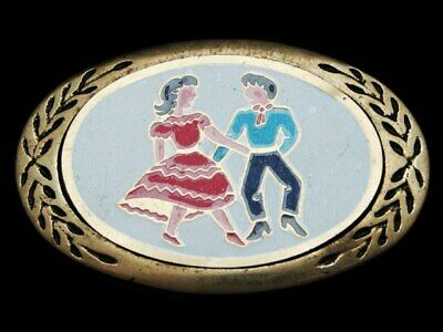 LC07175 VINTAGE 1970s SQUARE DANCING COUPLE SOLID BRASS WESTERN BELT BUCKLE