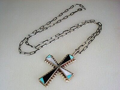 """OLD ZUNI STERLING SILVER & MOSAIC INLAY CROSS NECKLACE PENDANT w/ 18"""" chain"""