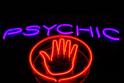 Fridge Toolbox Magnet (3x2) Neon Sign Psychic Palm Reader Hand Witch Red Art
