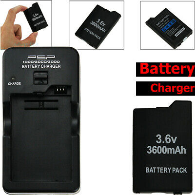 3600mAh Rechargeable Battery + Wall Charger for Sony PSP 2000 2001Slim 2002 2003
