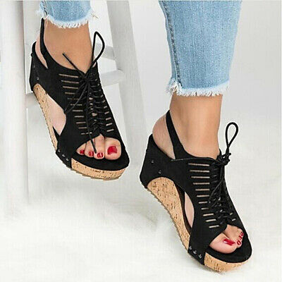 Women Summer Vintage Softwood Shoes Casual Wide Sandals High Heels Large Size LD