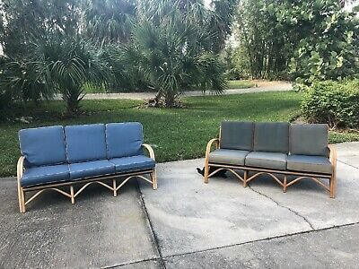 MID CENTURY MODERN Vintage Antique Rattan Bamboo Sofa Couch Pair ...
