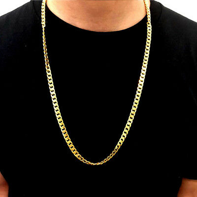 Fashion Solid Gold Filled Cuban Chain Necklace Thick Men & Women Jewelry LD