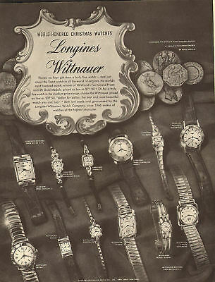 1953 vintage Christmas AD LONGINE WITTNAUER Watches many styles 100717