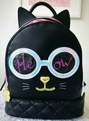 070bbf4a65 Luv BETSEY JOHNSON Cat Backpack Black & Iridescent Mini Kitty Jazzy LBJAZZY