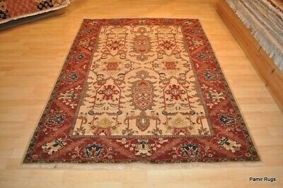 ON SALE FINE PERSIAN HERIZ DESIGN rug handmade, brick red beige green navy blue