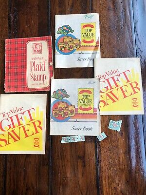 Vintage Top Value Stamps Quick Saver Books MacDonald Plaid Stamp Lot Of 5