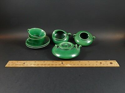 Vintage Chinese Apple Green Seven Piece Tea Set For Two Pot Sugar Creamer Cups