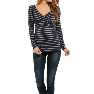 Pregnant Women Nursing Tops Maternity T-shirts Breastfeeding Clothes LD