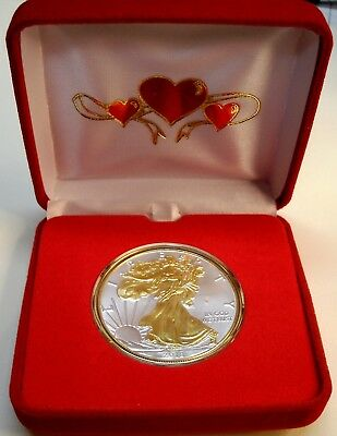 *SPEC MOTHER'S DAY! 1 oz-2019 SILVER EAGLE$1Cn w/24KT Gold Gilded(BU)w/Rd Hearts