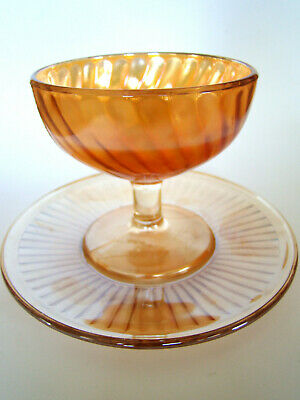 Vintage Carnival Glass Footed Ice Cream Sherbet Dish and Underplate / Saucer