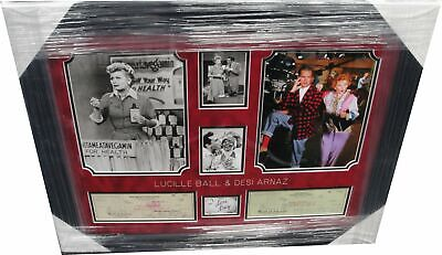 Lucille Ball & Desi Arnaz Signed Personal Checks Framed w/ Comic I Love Lucy LU