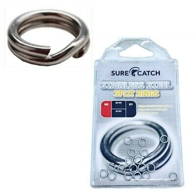 3 x Packets of Surecatch Stainless Steel Split Rings For Fishing Lures
