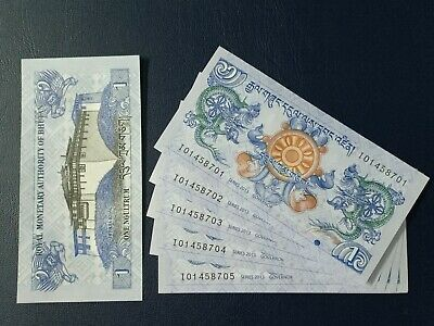 Lot of 5 pieces - Bhutan 1 Ngultrum P-27b - 2013 Issue UNC Hybrid Paper