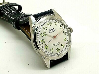 hmt pilot hand winding men steel white dial para shock vintage india watch run